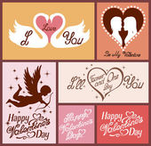 Set of flat design Valentines day greeting cards — Stock Vector