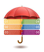 Option banner with red umbrella. — Stock Vector