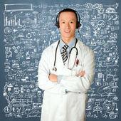 Doctor with headphones — Stock Photo