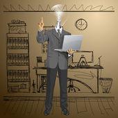 Lamp Head Business Man Shows Finger — Stock Vector