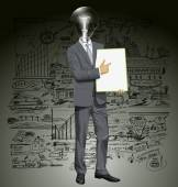 Lamp head businessman holding board — Stock Vector