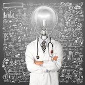 Lampa głowy lekarz mężczyzna z stetoskop — Zdjęcie stockowe