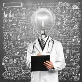 Lamp Head Doctor Man With Stethoscope — Stock Photo