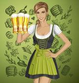 Cute Woman In Drindl On Oktoberfest — Stock Vector
