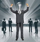 Lamp Head Businessman With Hands Up — Stock Vector