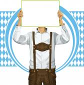 Man With Write Board On Oktoberfest — Stock Vector