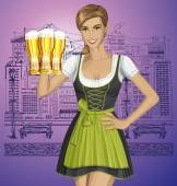 Woman in drindl  with beer — Stock Vector