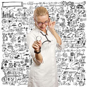 Young doctor woman with stethoscope — Foto de Stock