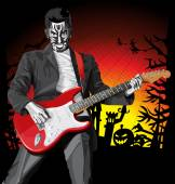 Punk With The Guitar Hallo — Vector de stock