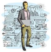 Muž s notebookem v ruce — Stock vektor