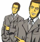 Businessmen Show Something With Finger — Vector de stock