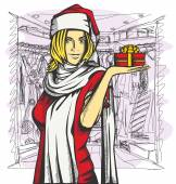 žena čekala na vánoce — Stock vektor