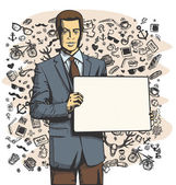 Businessman with Empty Write Board — Stock Vector