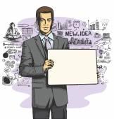 Biznesmen z zarządu pisz pusta — Wektor stockowy