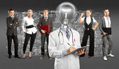 Businessteam With Lamp Head Doctor — Stock Photo