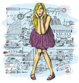 Surprised Blonde in violet Dress — Vector de stock