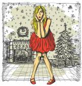 Surprised Blonde in red Dress — Vector de stock
