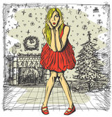 Surprised Blonde in red Dress — Wektor stockowy