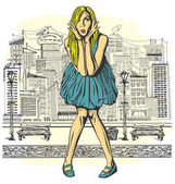 Surprised Blonde in blue Dress — Vector de stock