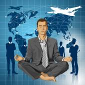 Podnikatel v lotus pose meditovat — Stock vektor