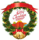 Noel ağacı Noel çanları — Stok Vektör