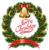 クリスマス ツリーとクリスマスの鐘 — ストックベクタ