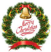 Christmas Bells with Christmas Tree — Stock Vector