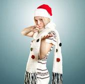 女人等圣诞节 — 图库照片
