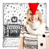 Vrouw in de Kerstmuts — Stockfoto