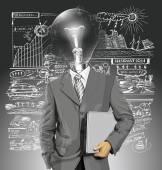 Homme d'affaires tête de lampe avec ordinateur portable — Vecteur