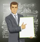 Empresario con el tablero de escritura vacía — Vector de stock