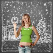 Woman Looking For Christmas Gifts — Stock Photo