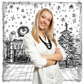 Woman Looking For Christmas Gifts — Стоковое фото