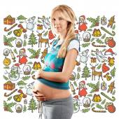 Pregnant Woman Looking For Christmas Gifts — Stock Photo