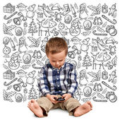Little Boy Looking For Christmas Gifts — Stock Photo