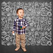 Boy Looking For Christmas Gifts — Stock Photo