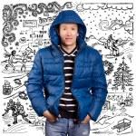 hombre asiático en abajo chaqueta acolchada — Foto de Stock   #60671215