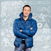 Mężczyzna azjatyckich w dół wyściełaną płaszcz — Zdjęcie stockowe