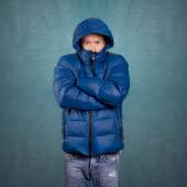 Asian Man in Down Padded Coat — Stock Photo