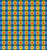 Клетчатый салфетка с точками и сердца — Cтоковый вектор