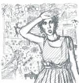 Sketched girl over love story background — Vetorial Stock