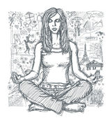 草绘的女性冥想 — 图库矢量图片