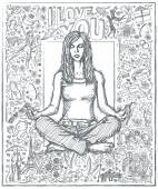 Sketched female meditation — Stock Vector