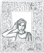 Sketched female over Love Story — Vetorial Stock