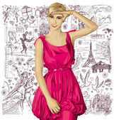 Blonde woman in pink dress — Stock Vector