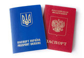 Ukrainian and Russian ID passports — Stock Photo