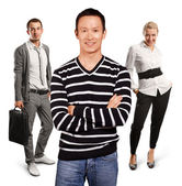 Asian man with folded hands — Foto de Stock