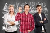 Teamwork and Asian Man showing OK — Stock Photo
