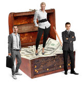 Business team and USA Dollars — Stock Photo
