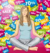 Woman meditating in lotus pose — Stock Vector
